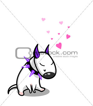 Cute vector cartoon dog. White Bull Terrier in love.
