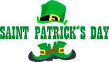 St. Patrick s Day inscription between a hat and boots of a leprechaun