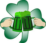 The concept of St. Patrick s Day two mugs in the hands of a gree
