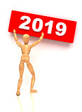 New Year 2019 sign