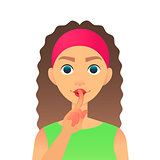 Cartoon beautiful woman saying hush be quiet with finger on lips gesture. Flat vector secret girl. Female silent gesture with finger. Shhh symbol.