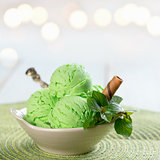 Close up green ice cream