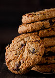 Gluten free oatmeal chocolate cookies with rasins