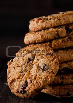 Gluten free oatmeal chocolate cookies with rasins