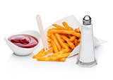 Southern french fries with salt and ketchup