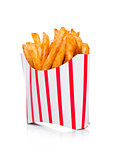 Southern french fries in paper container on white