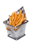 Basket of freshly made southern fries with paper
