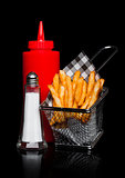 Basket of freshly made southern fries with ketchup