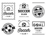Football badge set black on a white background