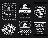 Football badge set white on a black background
