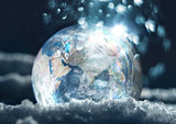 Frozen planet Earth climate change concept