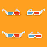 Set of paper 3d glasses in flat style, vector illustration.