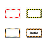Set frames with slanted black and yellow strips, vector illustration.