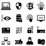 Cyber security, data protection, hacker and encryption web icons