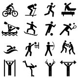 Sports, fitness, activity and exercise icons