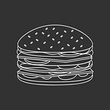 Outlined Fast Food Burger illustration