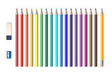 Set of colored realistic pencils with sharpener and eraser isolated on white. School tools, Colored pencils vector illustration