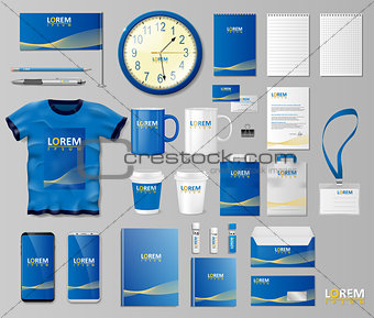 Corporate Branding identity template design. Stationery mockup for shop with modern blue structure. Business style stationery and documentation. Vector illustration