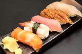 close up of sashimi sushi set