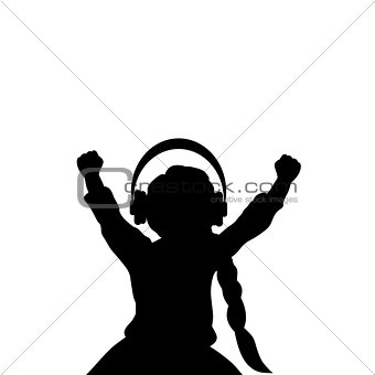 Silhouette girl listening to music with headphones