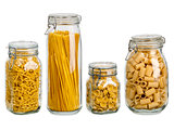Pasta in large glass jars