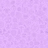 Line Bitcoin Seamless Pattern. Vector Illustration of Outline Tile Background. Cryptocurrency Financial Items.