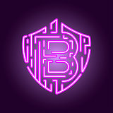 Bitcoin digital currency crypto currency. The concept of security of the crypto currency. Neon style logo