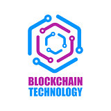 Blockchain technology icon. Vector smart contract block symbol. Decentralized transactions logo design. Crypto currencies network logotype.