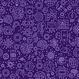 Line Seamless pattern. Vector illustration background with tiles. Icons on artificial intelligence theme
