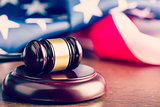 judge gavel and background with usa flag