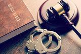 judge gavel and handcuffs