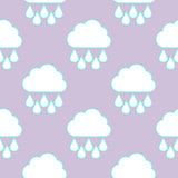 Raining cloud and falling drops seamless pattern