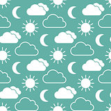 Cloud sun and moon seamless pattern