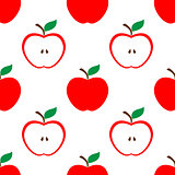 Apple and half red seamless pattern background
