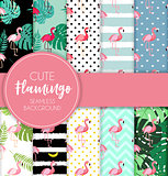 Cute Retro Seamless Flamingo Pattern Collection Set  Background Vector Illustration