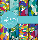 Abstract Wave Seamless Pattern Collection Set Background. Vector Illustration
