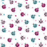 Cute Ladybug Seamless Pattern Background Vector Illustration