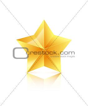 3D golden star isolated on white background. Winner icon. Vector illustration