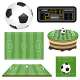 Soccer Football Field, Ball and Scoreboard