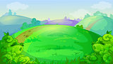 Vector game background with summer meadow, hills and bushes