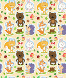 Seamless cartoon pattern with cute forest animals and Autumn theme