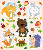 Cartoon isolated clip art with cute forest animals and Autumn theme