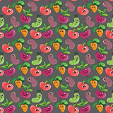 Seamless pattern background with cartoon funny smiling vegetables for kids textile or printing