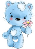Cute teddy bear character standing with flower , playing, cartoon illustration isolated on white background.