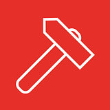 Linear hammer icon flat style
