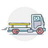 Truck with trailer illustration
