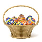 Easter basket full of decorated eggs. 3D