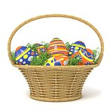 Easter basket full of decorated eggs with grass decoration. 3D