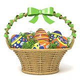 Easter basket full of decorated eggs with green ribbon bow. 3D