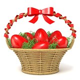 Easter basket full of red eggs with red ribbon bow. 3D